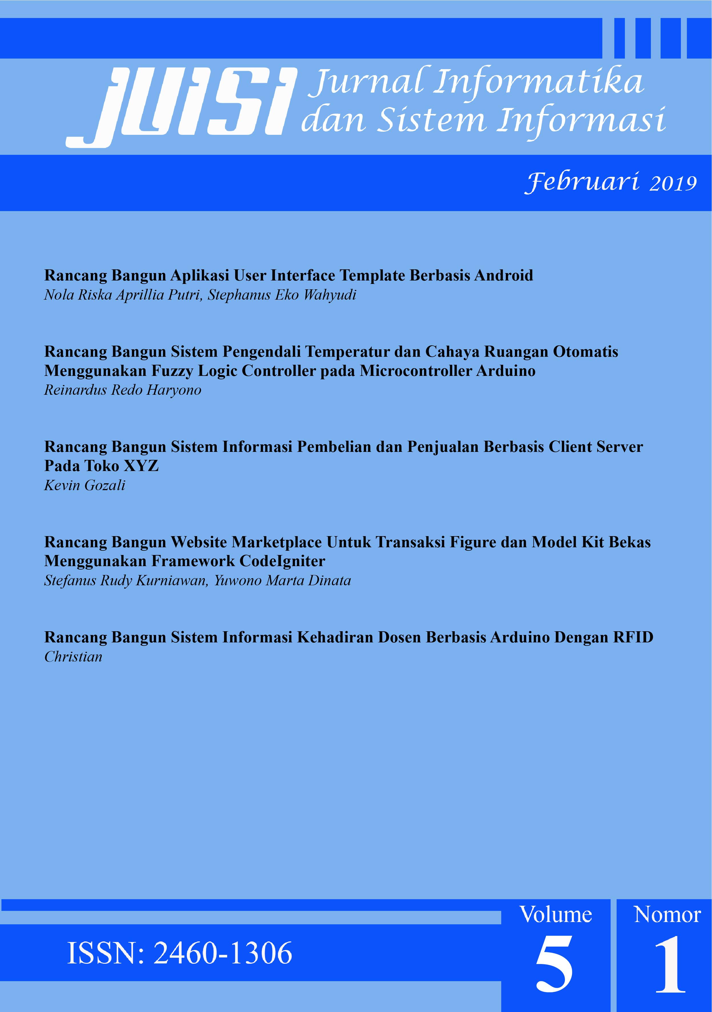 Jurnal Informatika dan Sistem Informasi - Front Cover Vol 5 No 1 2019